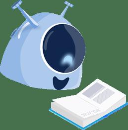 Imagem da mascote gaia lendo, representando materiais e conteudos ligados ao processo de admissao
