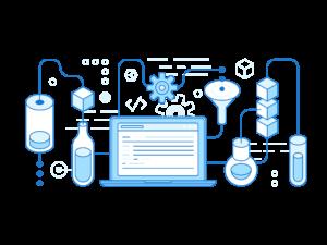 Imagem lúdica mostrando vários ícones interligados com um computador no meio, representando o RH moderno para contratar pessoas