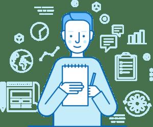 Imagem lúdica com um homem olhando um caderno com uma caneta na mão e alguns ícones envolta dele, representando as etapas do processo de Recrutamento e Seleção