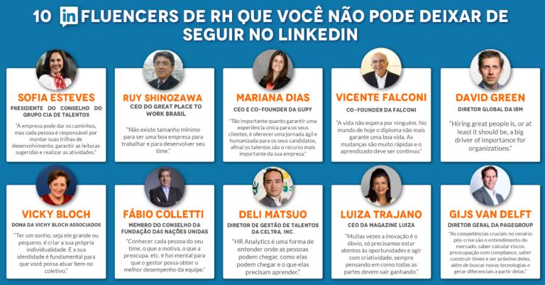 Infográfico que mostra 10 influencers de RH que você não pode deixar de seguir no LinkedIn