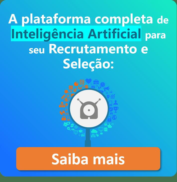 """Imagem da Gupy com a frase """"A plataforma completa de Inteligência Artificial para seu recrutamento e seleção"""" com botão de """"Saiba mais"""""""