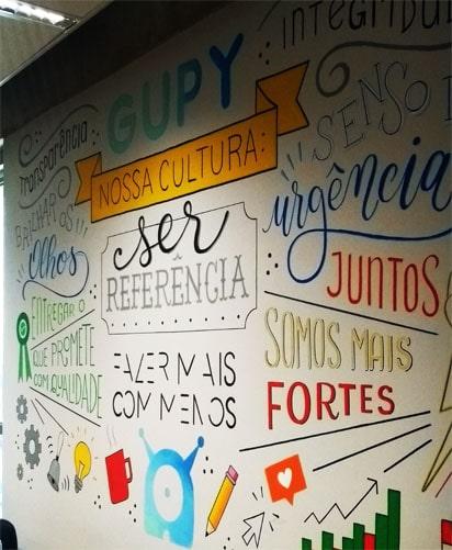 imagem com a cultura da Gupy escrita na parede