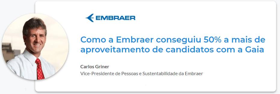 Imagem de Carlos Griner, vp de pessoas e sustentabilidade da embraer, no case de people analytics da gupy