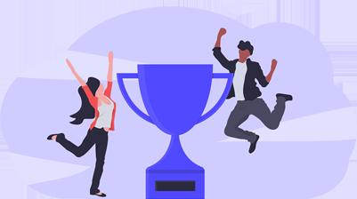 Imagem de pessoas comemorando junto a um troféu, representando o sucesso de empresas que já utilizam a prática de programa de indicação.