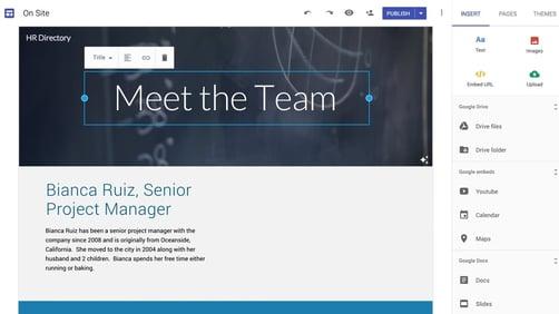 Imagem da ferramenta google sites para recrutamento de pequenas empresas