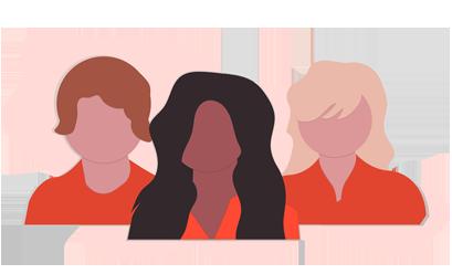 Imagem de 3 desenhos de pessoas, representando boas práticas para indicação interna