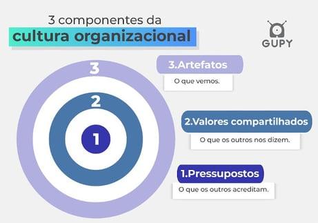 Imagem dos 3 componentes de uma cultura organizacional, artefato, valores compartilhados e pressupostos